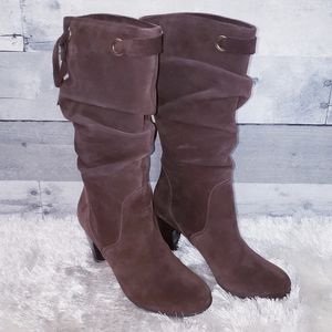 Connie Brown Suede Heeled Boots
